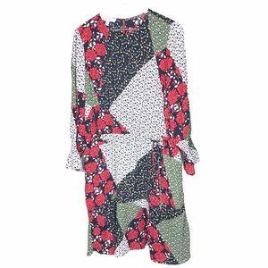 Libby Edelman Patchwork Long Sleeve Shirt Dress